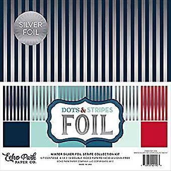 Echo Park Paper Company Winter Silver Foil Dots & Stripes 12x12 Inch Stripe Collection Kit (DSF17076)