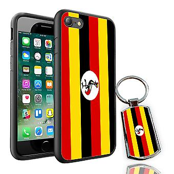 For Motorola Moto G6 Plus - Uganda Flag Design Printed Black Case Skin Cover + Free Metal Keyring - 0184 by i-Tronixs