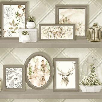 Stag Frames Wallpaper Animal Print Pheasant Floral Flowers Beige Grey Holden