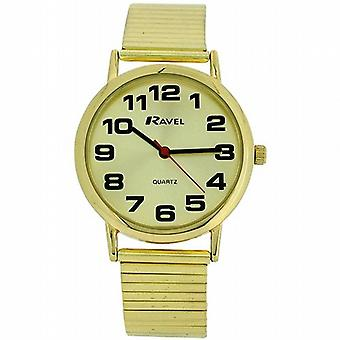 Ravel Gents Gold Stainless Steel Soft Expandable Bracelet Strap Watch R0208.05.1