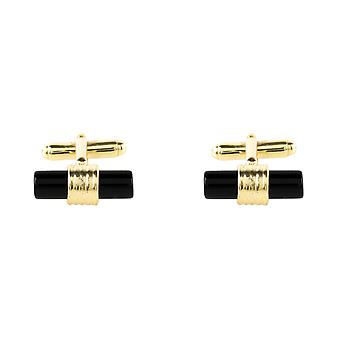 Latelita Mens Sterling Silver Cylindrical Gemstone Cufflink Black Onyx Gold