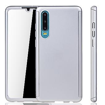 Huawei P30 Phone Case Protection Case Full Cover Tank Protection Glass Silver