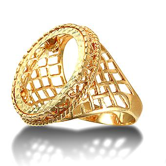 Jewelco London Men's Solid 9ct Yellow Gold Rope Edge Basket Full Sovereign Mount Ring