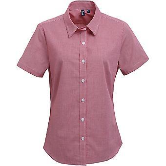 Premier - Women's Ladies Microcheck (Gingham) Short Sleeve Cotton Shirt