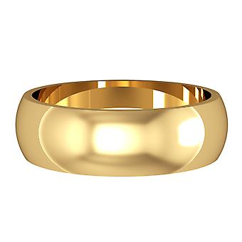 Jewelco London 18ct Yellow Gold - 6mm Essential D-Shaped Band Commitment / Wedding Ring