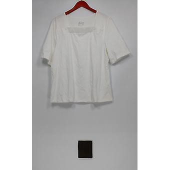 Denim & Co. Women's Top Elbow Sleeve Square Neck White A275244