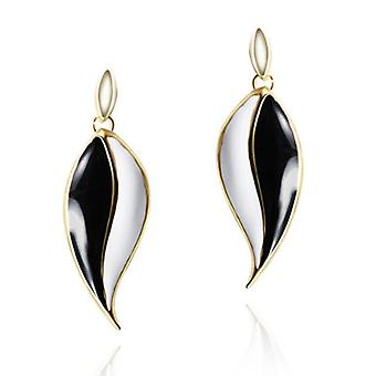 14K Gold Plated Black And White Leaf Drop Earrings, 4.7cm
