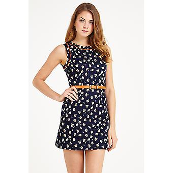 Louche Jayne Floral Print Piped Dress Navy