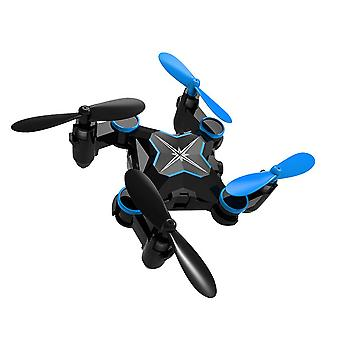 Folding four axis aerial photography mini drone aircraft toy - standard version (blue)