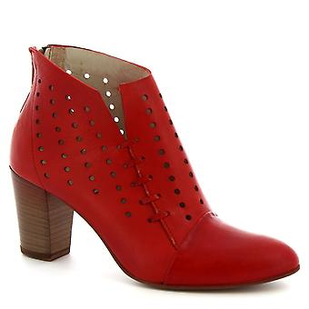 Leonardo Shoes Women's handmade heels ankle boots red openwork calf leather