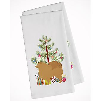 Pomeranian Merry Christmas Tree White Kitchen Towel Set of 2