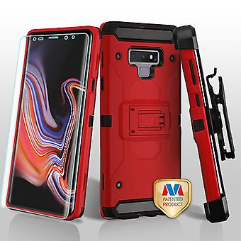MYBAT Red/Black 3-in-1 Kinetic Hybrid Case Combo (w/ Holster)(with Full-coverage Screen Protector) for Galaxy Note 9