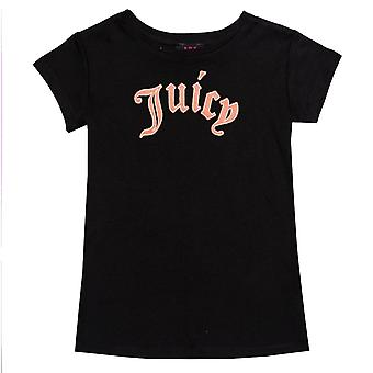 Junior Girls Juicy Couture Gothic Script T-Shirt In Black- Short Sleeve- Ribbed