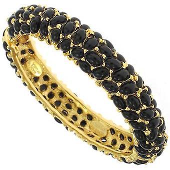 Kenneth Jay Lane Gold Plated & Black Cabochons Bracelet