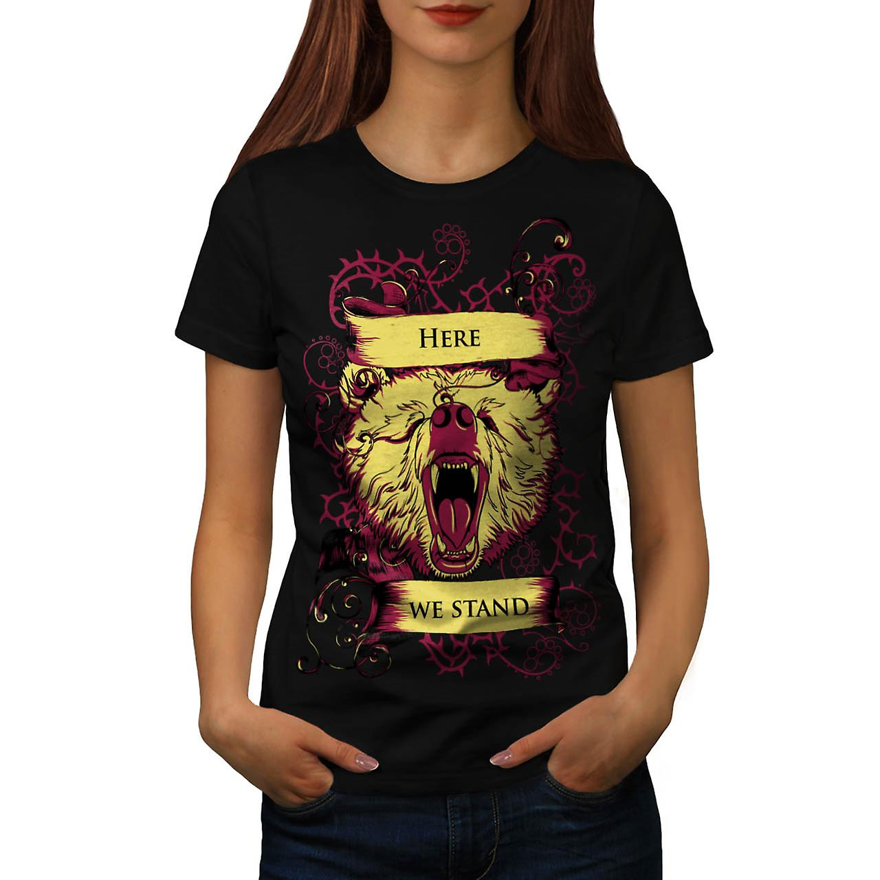 Here We Stand Bear Wild Grizzly Women Black T-shirt | Wellcoda
