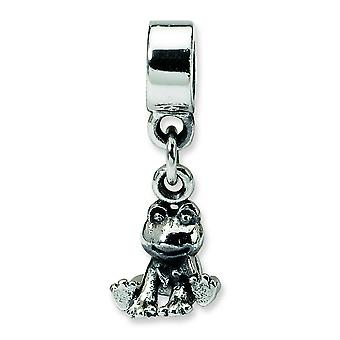 Sterling Silver Polished Antique finish Reflections Kids Frog Dangle Bead Charm