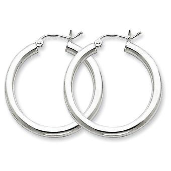 Sterling Silver Polished Hinged post Rhodium-plated 3mm Round Hoop Earrings - 2.9 Grams