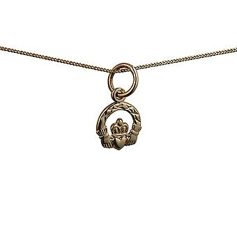 9ct Gold 8x6mm diamond cut Claddagh Pendant with a curb Chain 18 inches