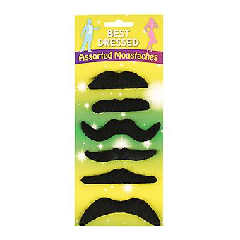 Best Dressed 6 Assorted Moustaches Fancy Dress Accessory