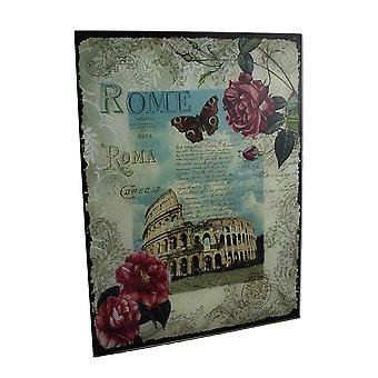 Decorative Rome Colosseum Floral Glass Wall Hanging
