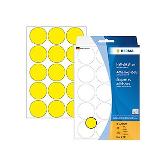 Manual Labels Herma ø 32 mm yellow