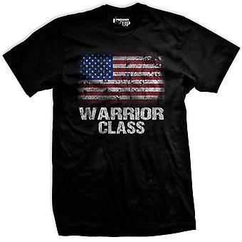 Рейнджер вверх Американский воин класс флаг футболка-черный