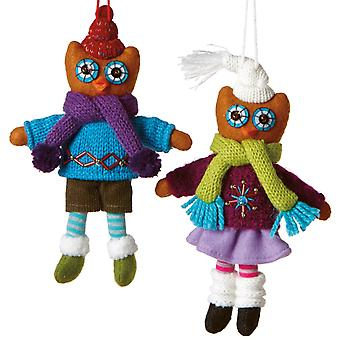 Boy and Girl Owls Dressed for Cold Winter Holiday Ornaments Set of 2 Midwest CBK