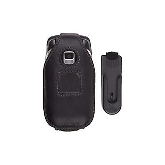 Swivel Clip Leather Case for Samsung A870 - Black