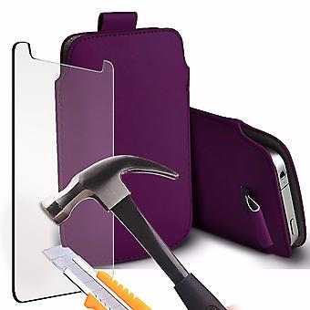 i-Tronixs - Alcatel Flash(2017) Protective Faux Leather Pull Tab Stylish Fitted Pouches Case Cover Skin With Tempered Glass - Dark Purple
