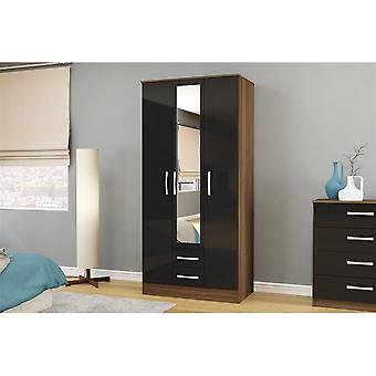 Birlea Lynx 3 Door 2 Drw/mirror Walnut & Black