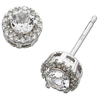 9 CT White Gold And Diamond Earring