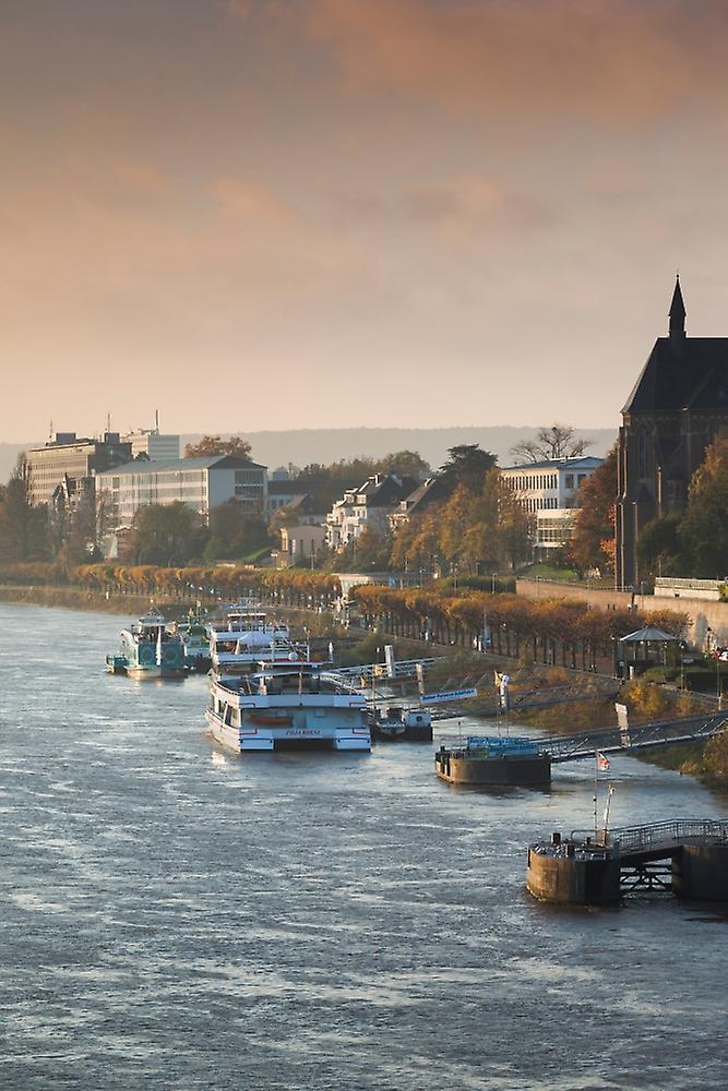Rhine riverfront at dawn Bonn North Rhine-Westphalia Gerhommey Poster Print by Panoramic Images (36 x 24)