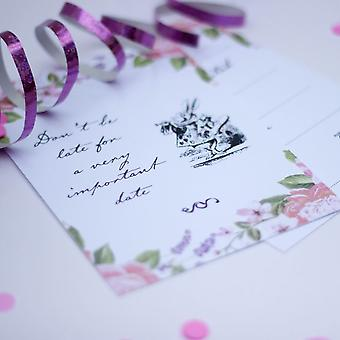 Alice in Wonderland Party Invites floral with envelopes Set of 6 Mad Hatter Party