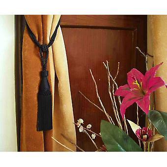 Pair - Black Decorative handmade Tiebacks / Tassel / Curtain Holdback