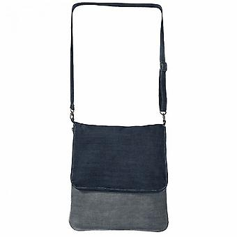 B&C Denim Crossbody Foldover Messenger Bag