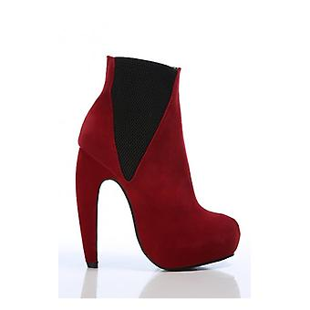 The Fashion Bible Betsy Platform Boots In Red