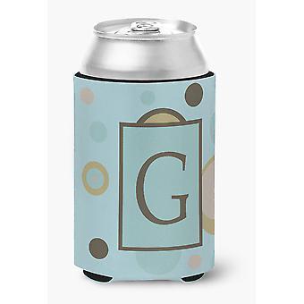 Letter G Initial Monogram - Blue Dots Can or Bottle Beverage Insulator Hugger