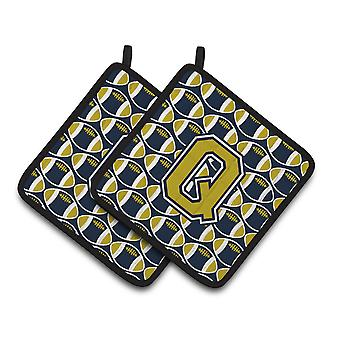 Letter Q Football Blue and Gold Pair of Pot Holders