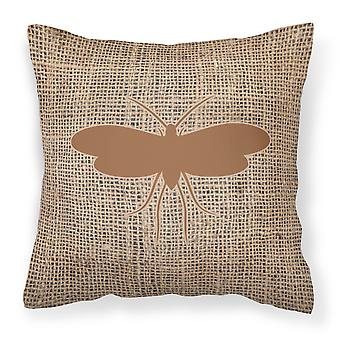 Moth Burlap and Brown   Canvas Fabric Decorative Pillow BB1058