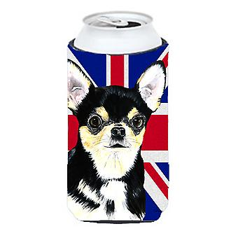 Chihuahua with English Union Jack British Flag Tall Boy Beverage Insulator Hugge