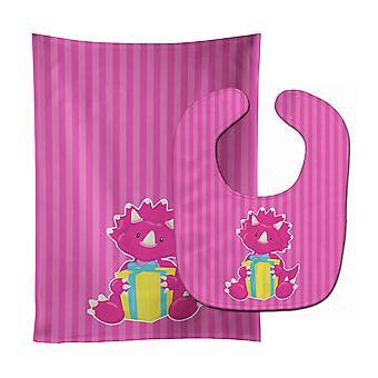 Carolines Treasures  BB8924STBU Dinosaur Pink #2 Baby Bib & Burp Cloth