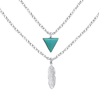 Triangle And Feather - 925 Sterling Silver Plain Necklaces