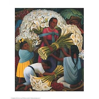 Flower Vendor Poster Print by Diego Rivera (24 x 30)