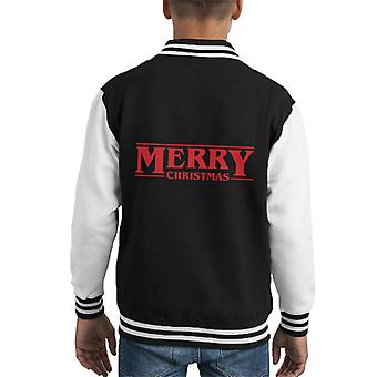 Merry Christmas Stranger Things Font Kid's Varsity Jacket