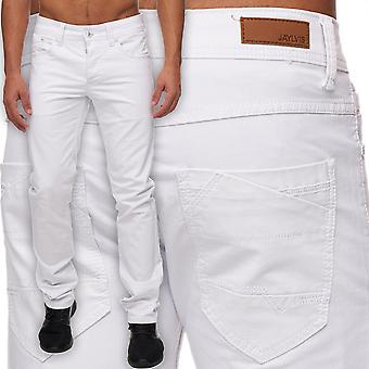 Men's Slim fit jeans pants white six-Pocket style straight leg