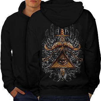 Triangle Society Men BlackHoodie Back | Wellcoda