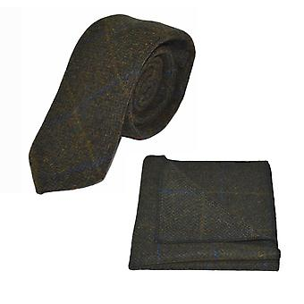 Luxe Juniper groene Herringbone Check Tie & zak plein Set, Tweed