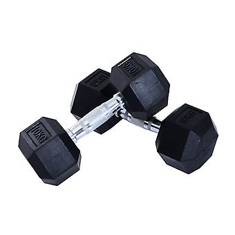 Homcom 2 x Rubber Dumbbells Sports Hex Weights Set (2 x 10KG)