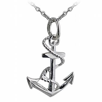 Silver 17x13mm Anchor Pendant with a rolo Chain 24 inches