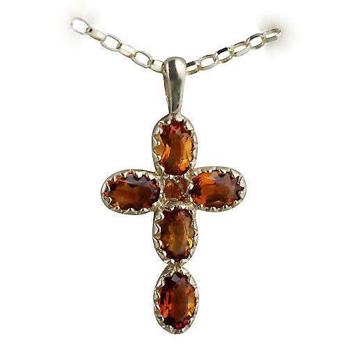 9ct Gold 25x16mm Cross set with 5 Citrine and 1 Pearl on a belcher Chain 16 inches Only Suitable for Children